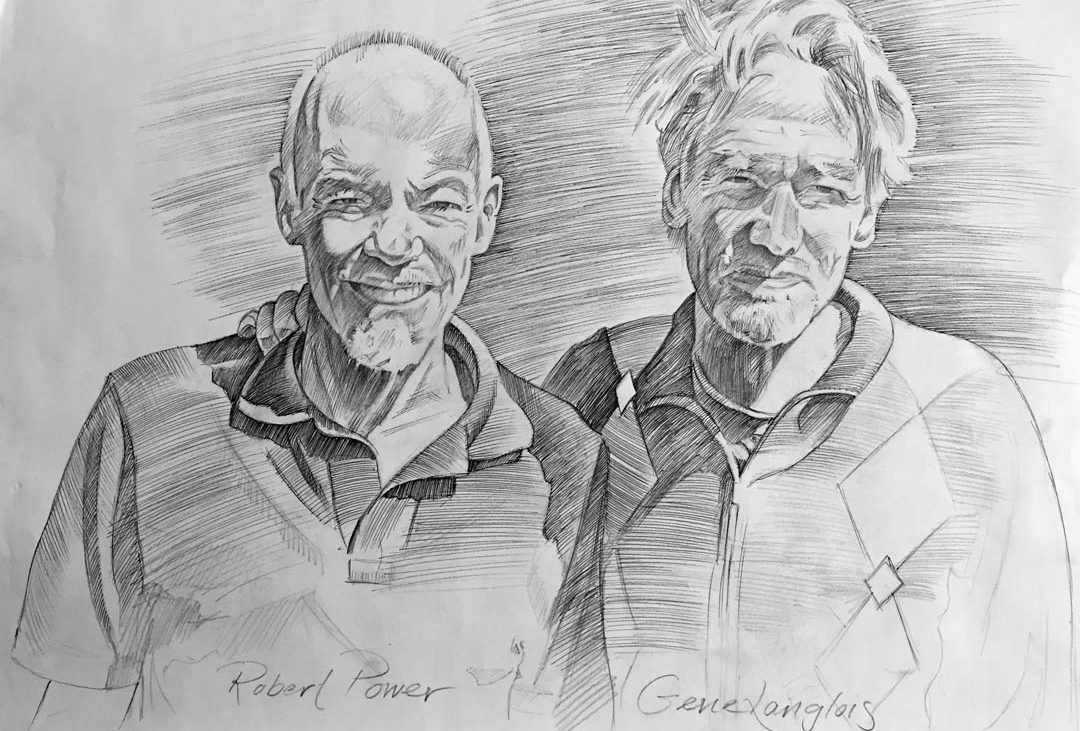pen-and-ink drawing by Jonathan Machen of Robert Power and Gene Langlois