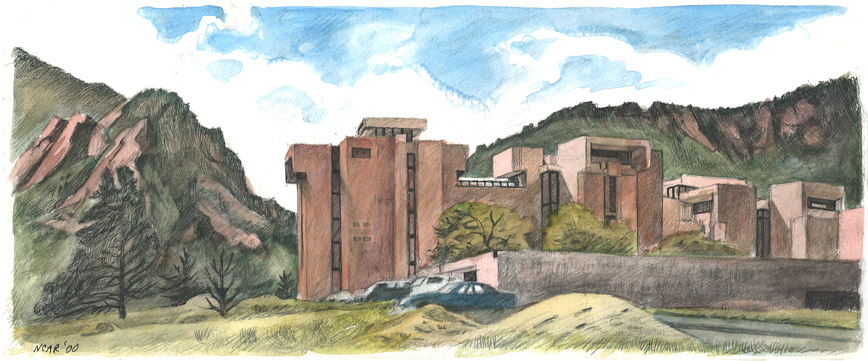 National Center for Atmospheric Research, Pen-and-ink and watercolor drawing by Jonathan Machen