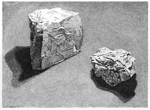 Rocks, 1988 Pen-and-ink drawing by Jonathan Machen