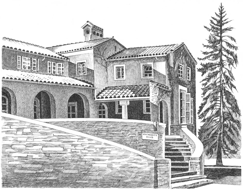 University Club, University of Colorado, 1996 Pen-and-ink drawing by Jonathan Machen