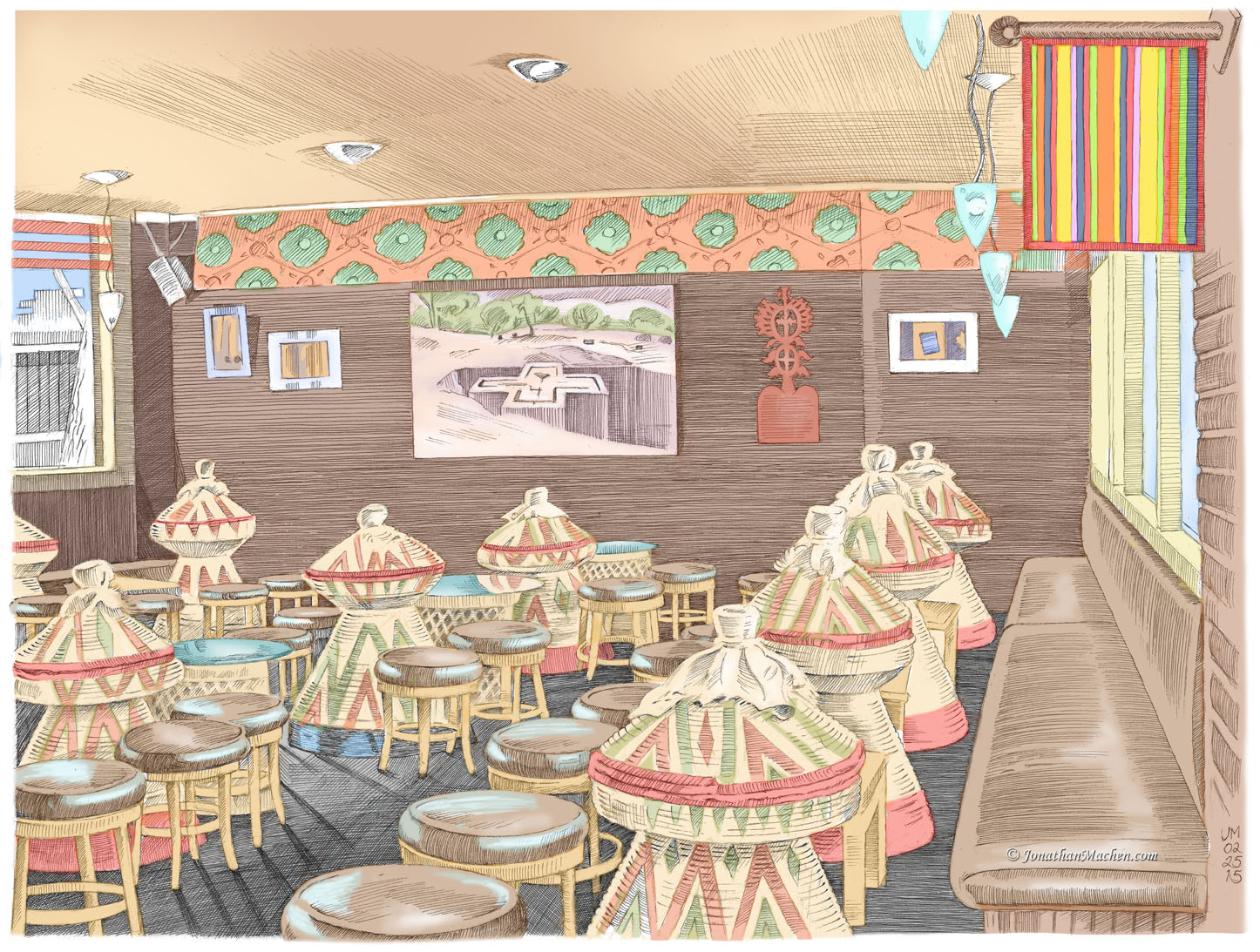 pen-and-ink drawing with digital color by Jonathan Machen, Ras Kassas Restaurant, Boulder