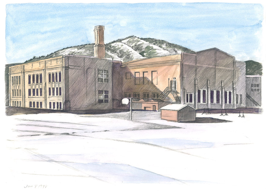 pen-and-ink and watercolor drawing by Jonathan Machen of Casey Middle School, Boulder, 1998