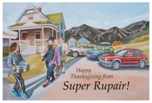 Oil Painting by Jonathan Machen; commission, SuperRupair Thanksgiving card 2016