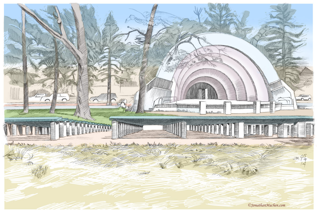 Pen-and-ink drawing with Digital color by Jonathan Machen, Boulder Bandshell, 2014