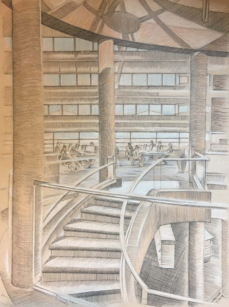 Boulder Library interior, 2019, pencil, chalk and pen