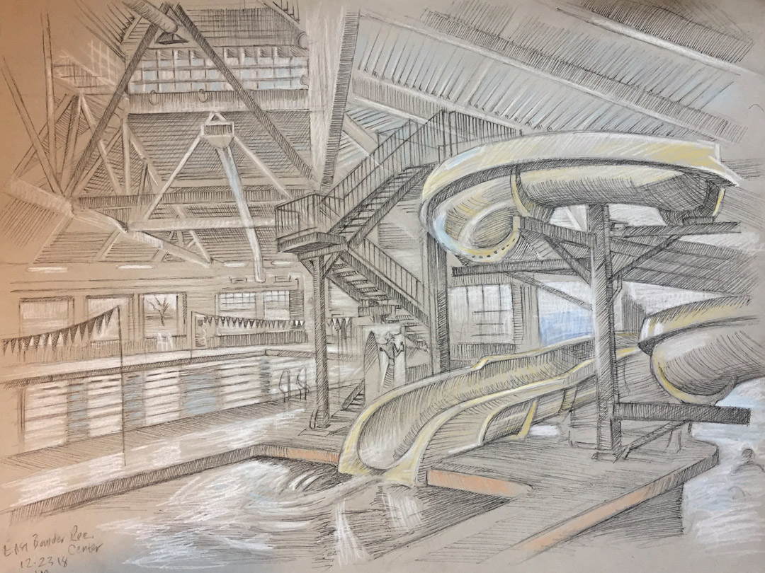 East Boulder Recreation center, Boulder, 2019, pencil, chalk and pen