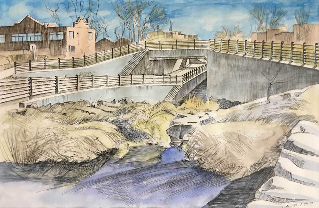 Boulder Bike Path - Elmers Two-Mile 2017, pen-and-ink and watercolor