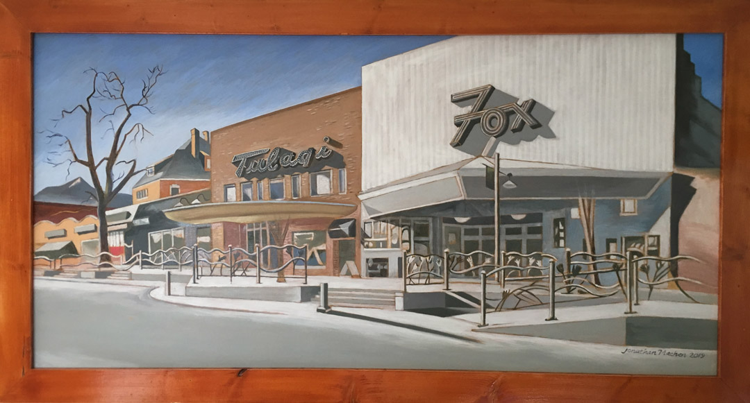 Fox-Theater and Tulagis, Boulder, 2019, Oil on Panel