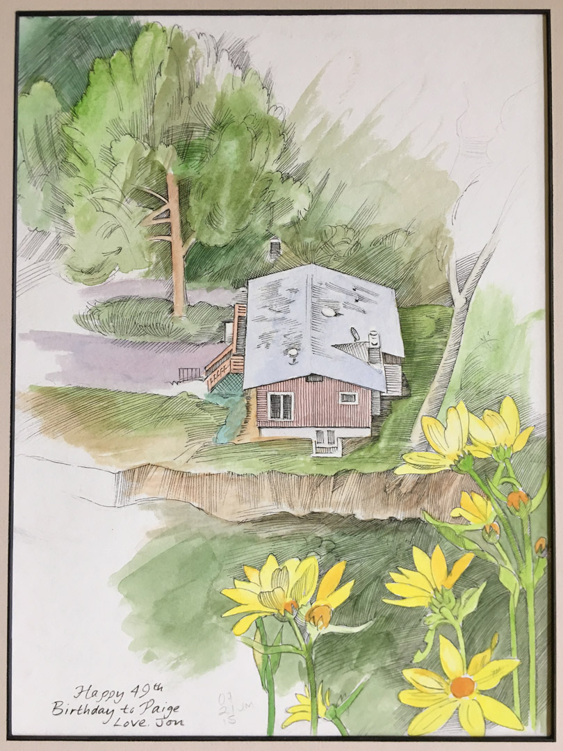Fourmile Canyon house from above, 2015, pen-and-ink and watercolor