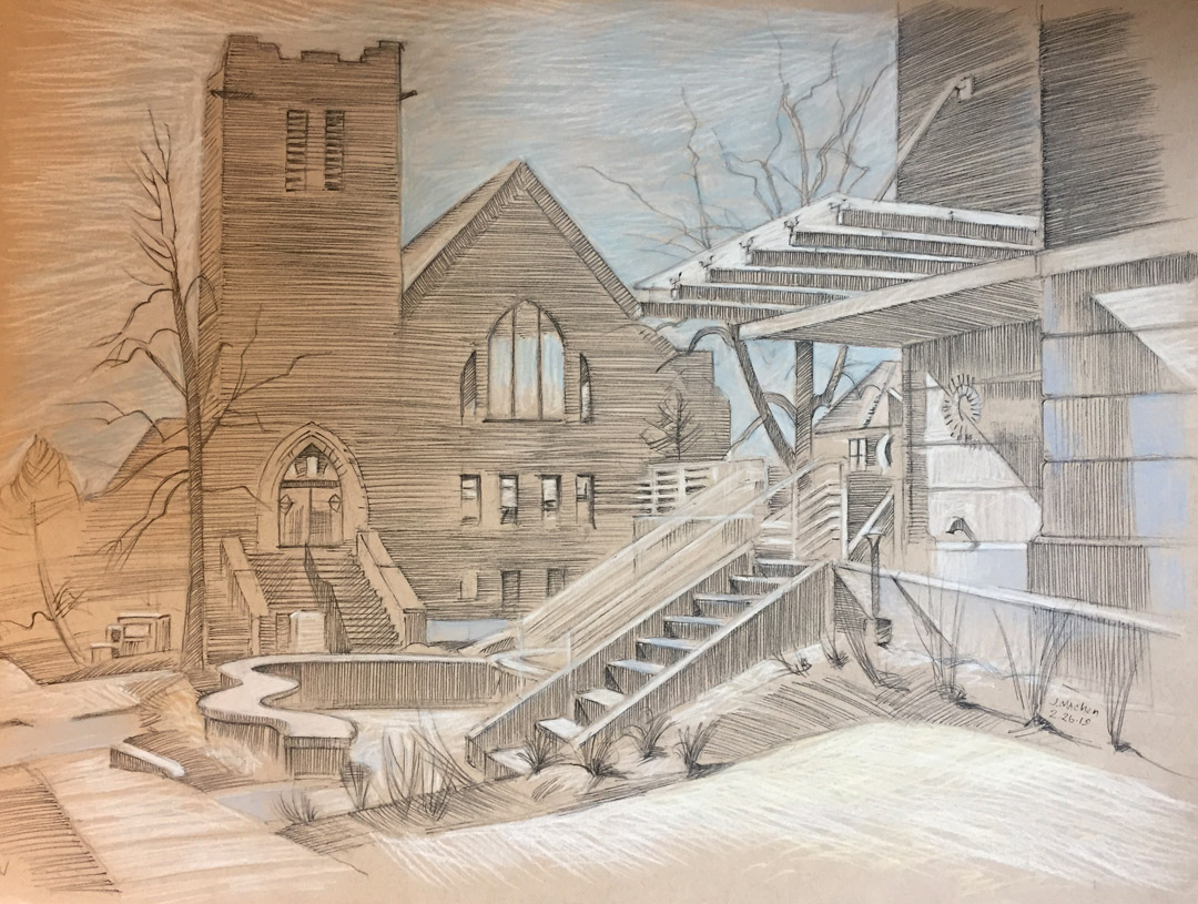 Museum of Boulder and the First Congregational Church, 2019, pencil, chalk and pen