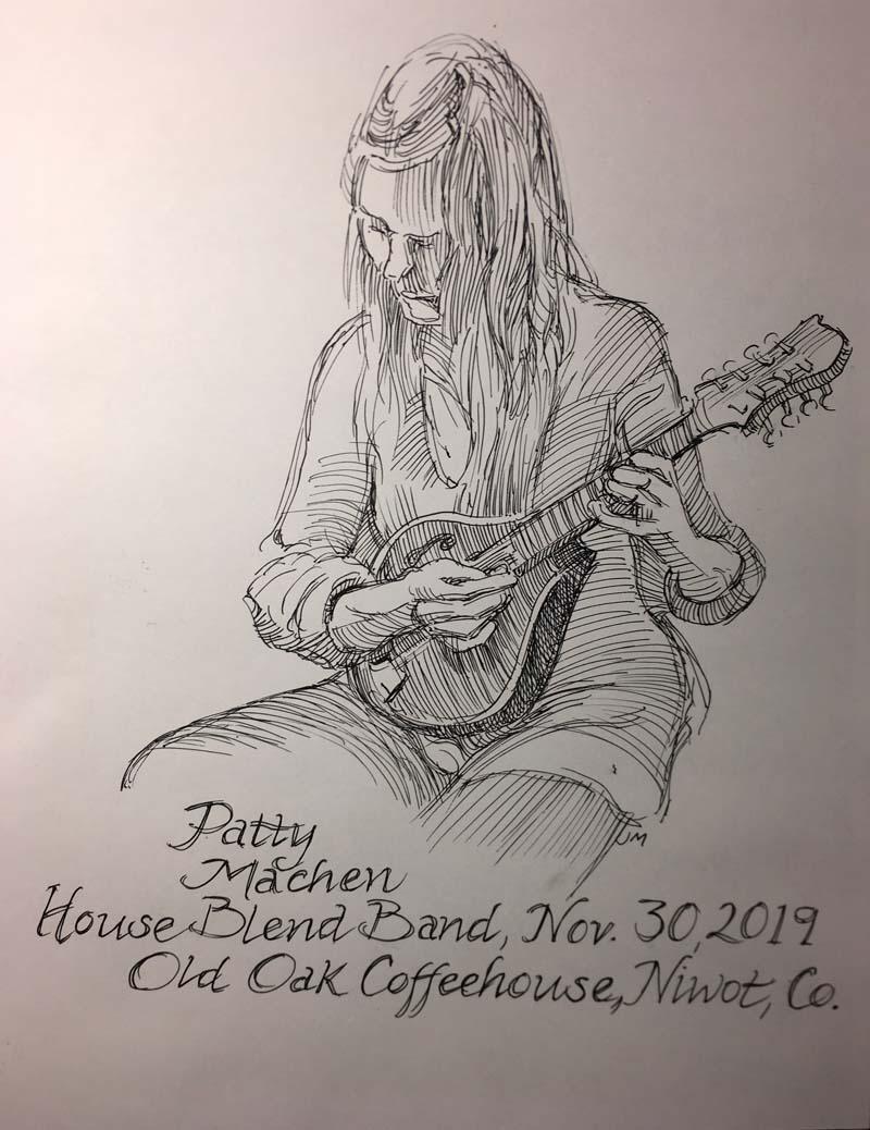 Patty Machen playing mandolin