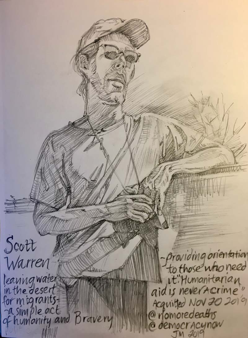 Scott Warren, No More Deaths, pencil drawing by Jonathan Machen
