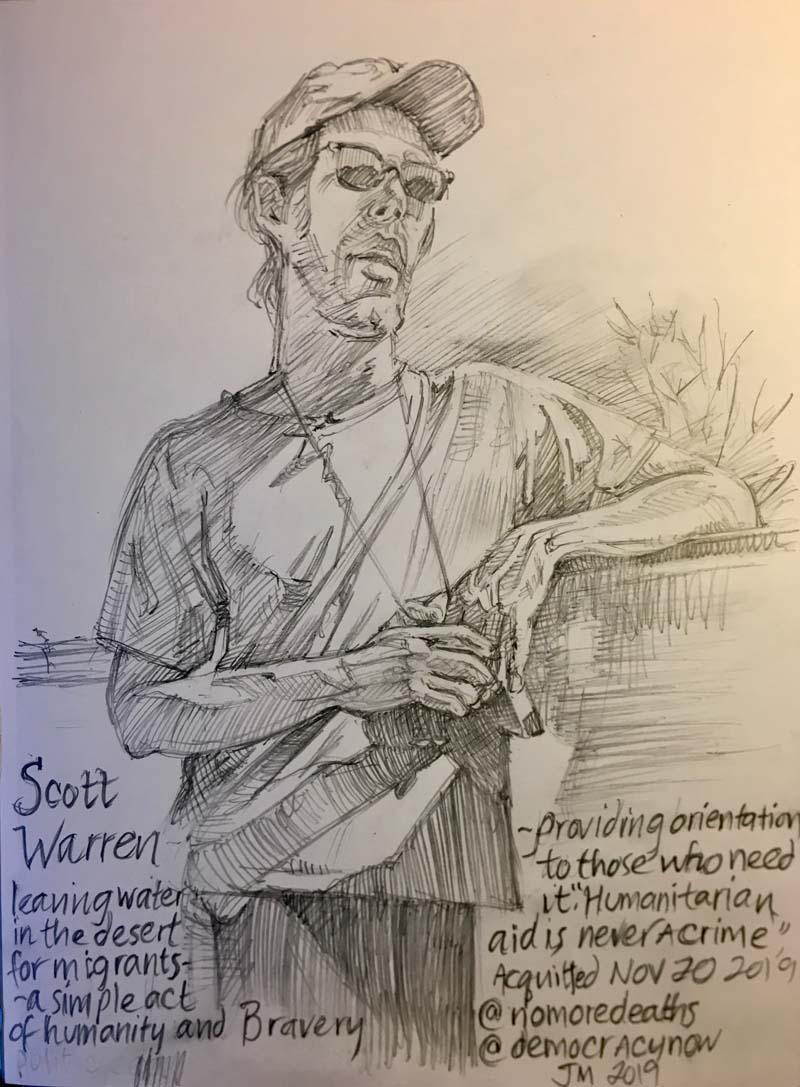 Scott Warren, No More Deaths, pencil drawing by Jonathan Machen